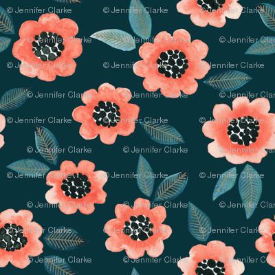 Simple Floral - coral/teal