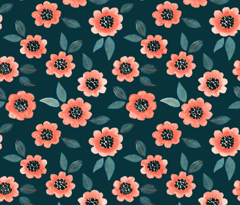 Simple Floral - coral/teal fabric by jenuine_designs on Spoonflower - custom fabric