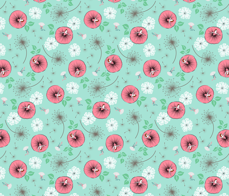 Ballerina garden fabric by tuppencehapenny on Spoonflower - custom fabric
