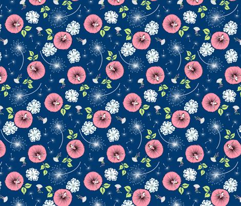 Ballerina Garden - navy fabric by tuppencehapenny on Spoonflower - custom fabric