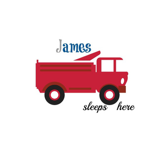red truck sleeps here XL20 -  gray blue Personalized James