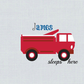 red truck sleeps here gray  XL20 -  gray blue Personalized James