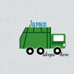 garbage truck green on gray -sleep here-PERSONALIZED  James