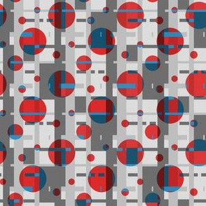 red dots on a geometric gray background