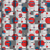 red dots an a geometric gray background