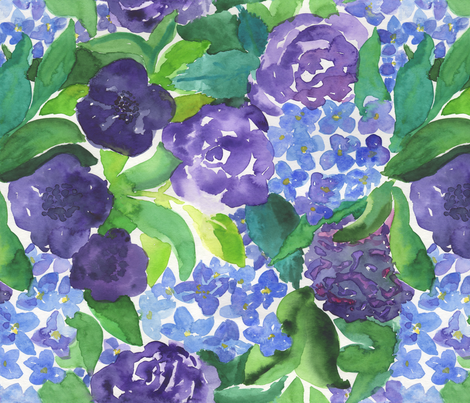 Roses and Hydrangeas fabric by patterista on Spoonflower - custom fabric