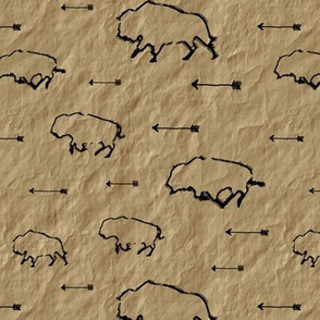 Buffalo Hunt // Parchment // Small