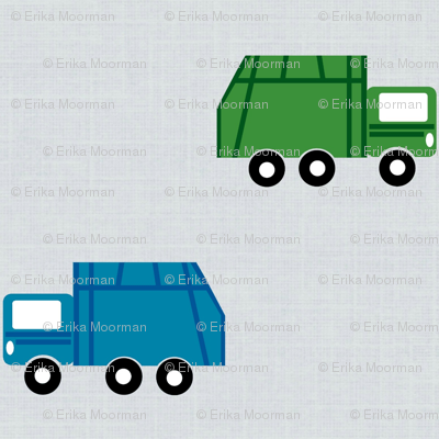 garbage trucks in a row on gray - green and blue
