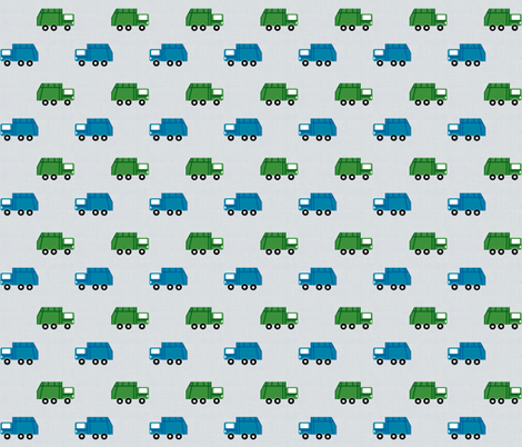 garbage trucks in a row on gray - green and blue fabric by drapestudio on Spoonflower - custom fabric