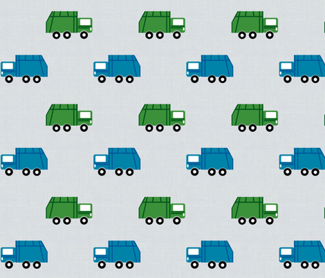 garbage trucks in a row on gray Large6  - green and blue fabric by drapestudio on Spoonflower - custom fabric
