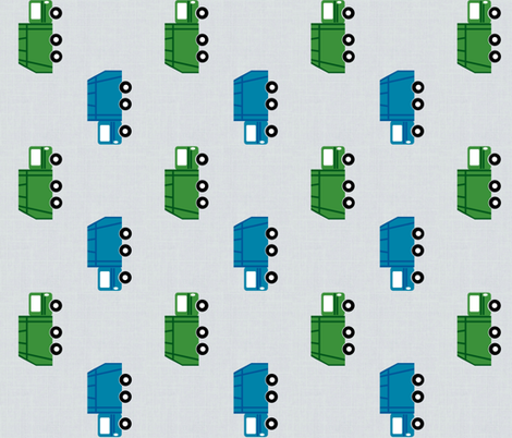 garbage trucks in a row on gray VERTICAL Large6  - green and blue fabric by drapestudio on Spoonflower - custom fabric