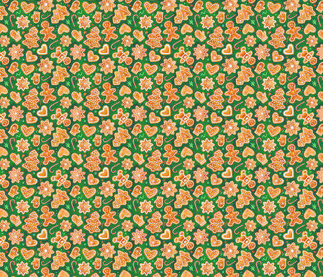 Gingerbread cookies fabric by runlenarun on Spoonflower - custom fabric