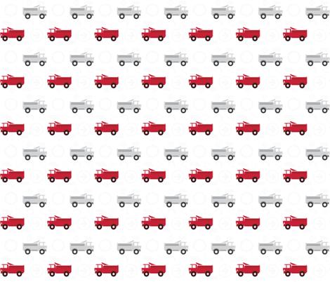 trucks in a row metro signs - red and gray  fabric by drapestudio on Spoonflower - custom fabric
