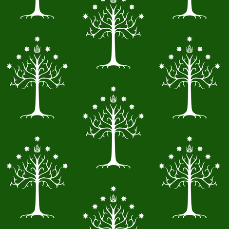 White Tree of Gondor // Green fabric by thinlinetextiles on Spoonflower - custom fabric