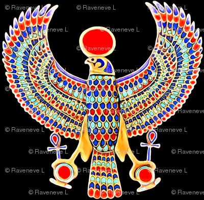 ancient egypt egyptian falcons birds gods myths mythology legends deity deities  horus gold ankh sun solar disk royalty colorful wings king tut royal imperial Tutankhamun