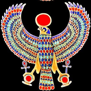 ancient egypt egyptian falcons birds gods myths mythology legends deity deities  horus gold ankh sun solar disk royalty colorful wings king tut royal imperial Tutankhamun