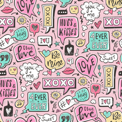 Sweet Love Words Speech Clouds & Hearts Typography Doodle Valentines Day on Pink