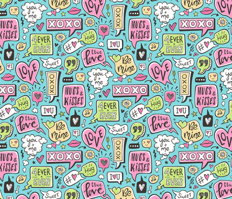Sweet Love Words Speech Clouds & Hearts Typography Doodle Valentines Day on Blue fabric by caja_design on Spoonflower - custom fabric