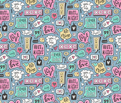 Sweet Love Words Speech Clouds & Hearts Typography Doodle Valentines Day on Denim Blue fabric by caja_design on Spoonflower - custom fabric