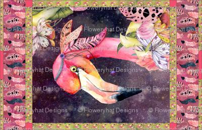 """36"""" x 56"""" GYPSY FLAMINGO 1 YARD PANEL 3 BURGUNDY BROWN STARRY SKY BACKGROUND FEATHERS BOHO BOHEMIAN BIRD FLOWERS"""