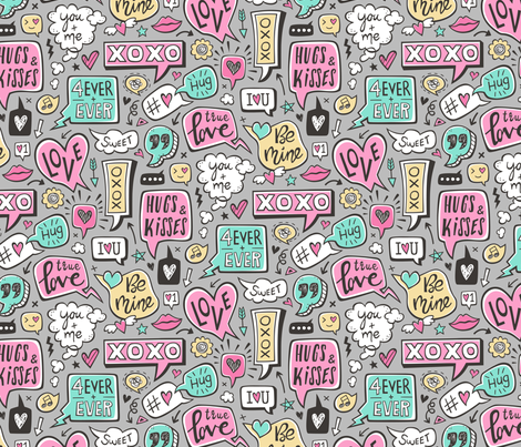 Sweet Love Words Speech Clouds & Hearts Typography Doodle Valentines Day on Grey fabric by caja_design on Spoonflower - custom fabric