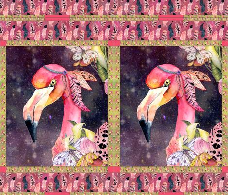 GYPSY FLAMINGO 2 PER YARD PANEL 3 BURGUNDY BROWN STARRY SKY BACKGROUND FEATHERS BOHO BOHEMIAN BIRD FLOWERS fabric by floweryhat on Spoonflower - custom fabric