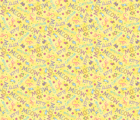 Cat Words Yellow fabric by phyllisdobbs on Spoonflower - custom fabric
