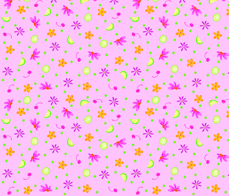 Limes Cherries and Flowers Pink Large fabric by phyllisdobbs on Spoonflower - custom fabric