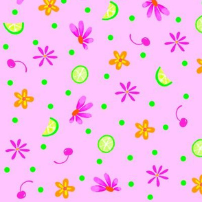 Limes Cherries and Flowers Pink Large