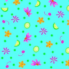 Limes Cherries and Flowers Turquoise Large
