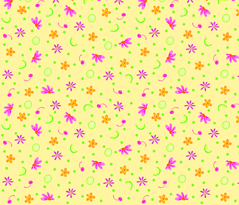 Limes Cherries and Flowers Yellow Large fabric by phyllisdobbs on Spoonflower - custom fabric