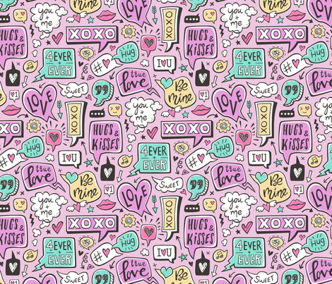 Sweet Love Words Speech Clouds & Hearts Typography Doodle Valentines Day on Purple fabric by caja_design on Spoonflower - custom fabric