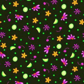 Limes Cherries and Flowers Black Tiny