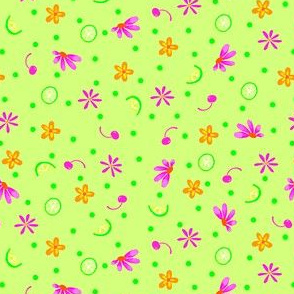 Limes Cherries and Flowers Green Tiny