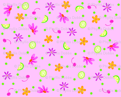 Limes Cherries and Flowers Pink Tiny