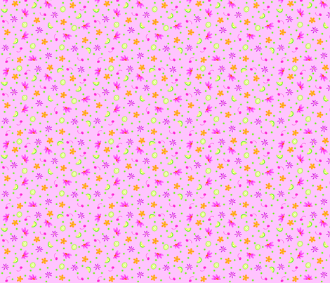 Limes Cherries and Flowers Pink Tiny fabric by phyllisdobbs on Spoonflower - custom fabric