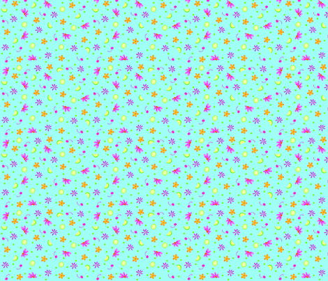 Limes Cherries and Flowers Turquoise Tiny fabric by phyllisdobbs on Spoonflower - custom fabric