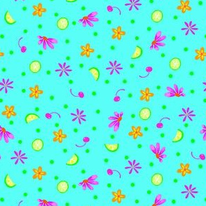 Limes Cherries and Flowers Turquoise Tiny