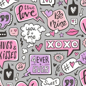 Sweet Love Words Speech Clouds & Hearts Typography Doodle Valentines Day Purple Pink on Grey