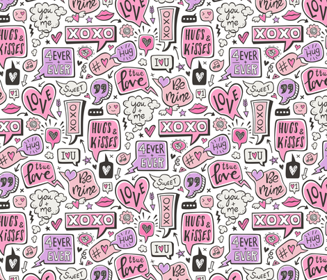 Sweet Love Words Speech Clouds & Hearts Typography Doodle Valentines Day Purple Pink on White fabric by caja_design on Spoonflower - custom fabric