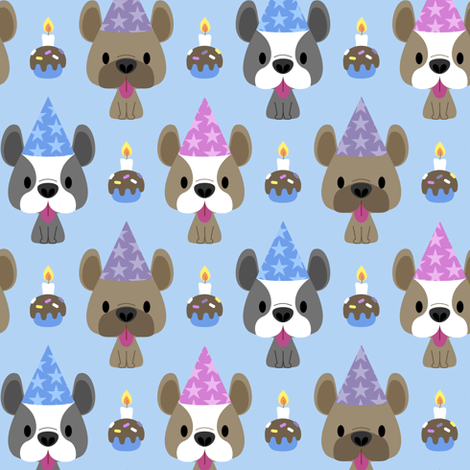 French bulldog birthday party fabric by petitspixels on Spoonflower - custom fabric