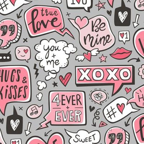 Sweet Love Words Speech Clouds & Hearts Typography Doodle Valentines Day Red Pink on Grey