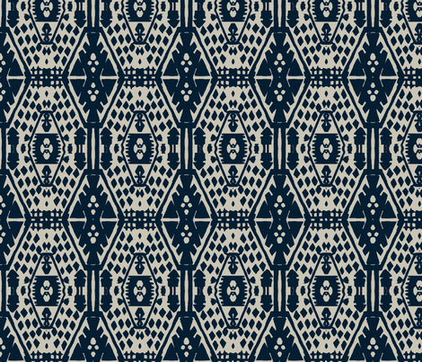 Blue block print fabric by fable_design on Spoonflower - custom fabric