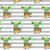 Nerdy Space Characters - Yoda Gray Stripes – Trendy Geek Fantasy Kids Room Bedding Sheets