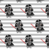 Nerdy Space Characters - Darth Vader Gray Stripes – Trendy Geek Fantasy Kids Room Bedding Sheets