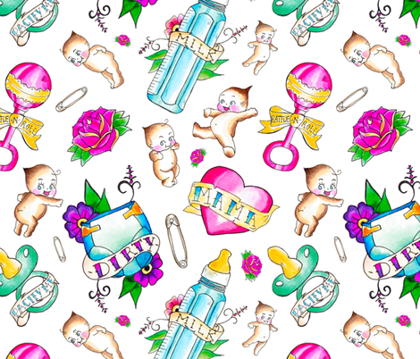 Baby Themed Flash Tattoo Toss fabric by elliottdesignfactory on Spoonflower - custom fabric