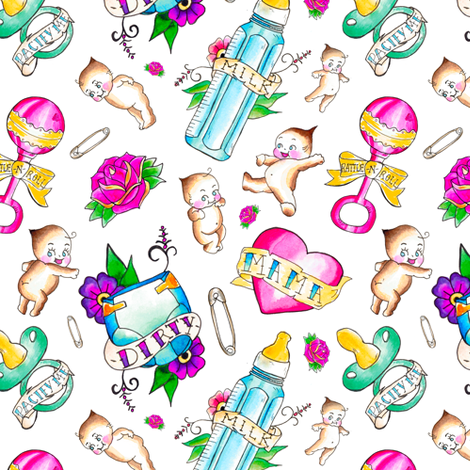 Baby Themed Flash Tattoo Toss fabric by elliottdesignfactory on Spoonflower - custom fabric