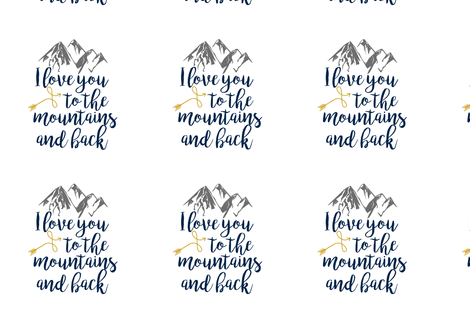 8 Inch - Love you to the Mountains and Back - Navy/Mustard fabric by longdogcustomdesigns on Spoonflower - custom fabric