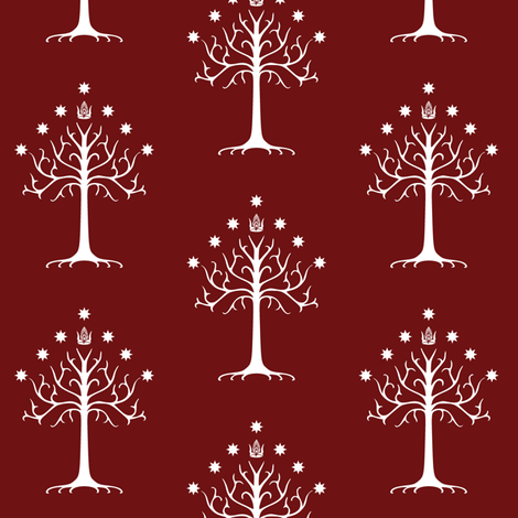 White Tree of Gondor // Burgundy fabric by thinlinetextiles on Spoonflower - custom fabric