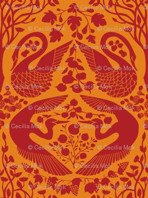 The Garden of Earthly Delights - Crimson/Orange